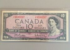 Beautiful 1954 Bank Of Canada $10 Note Canadian Bill Rare Currency Paper Money