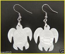 White Sea Turtle Mother of Pearl shell silver plated earrings