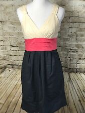BCBG Maxazria A-Line Cotton Dress Stretch Colorblock Belt Career Work Size 6