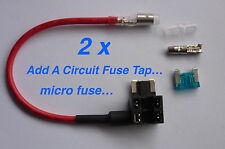 2 x Add-A-Circuit Fuse TAP Adapter Micro APS ATT Blade Fuse Holder For Car 12V