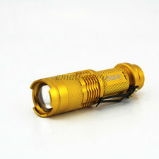 Mini 7W 300LM Gold CREE Q5 LED Flashlight Torch Adjustable Focus Zoom LightLamp