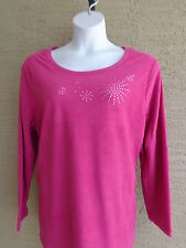 NWT JUST MY SIZE 4X POLAR  FLEECE BEAD EMBELLISHED CREW NECK TOP BERRY PINK