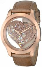 NEW-GUESS ROSE GOLD LEATHER STRAP BAND+CRYSTAL HEARTS GLITZ DIAL WATCH U0113L3