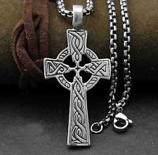 Irish CELTIC CROSS Ireland Pendant Necklace Titanium Stainless Steel Jewelry