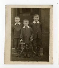 3 YOUNG BOYS WITH ANTIQUE 3 WHEEL BICYCLE PHOTO