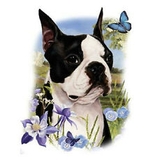 """BOSTON TERRIER with Flowers -One Lg 18"""" x 22"""" Panel to Quilt-Sew. SALE!"""