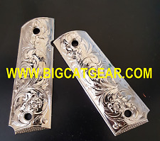 1911 COLT PISTOL CUSTOM METAL GRIPS  Full Size Government Nickle finish Plated