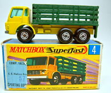 Matchbox Superfast Nr.4A Stake Truck helles gelb & grün spiro Räder top in Box