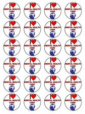"x24 1.5"" I Love Menatl Health Care Cupcake Topper On Edible Rice Paper"