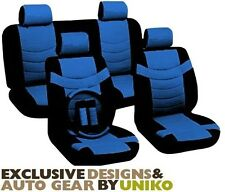 Car Seat Covers Sporty Accent Black & Blue PU Leather Steering Wheel Set CS9