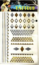 1 Sheet of Gold & Silver Temporary Tattoo Stickers Wrist/Ankle Neck Jewellery