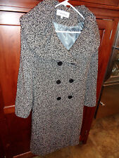 Calvin Klein Black/Grey Boucle Knee Length Coat w/Collar & Tie Wool Blend 10
