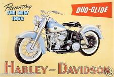 Harley Davidson Duo Glide Motorrad Blechreklame Schild Blechschild 41x28 cm T60