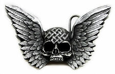 Skull Belt Buckle Heavy & Fully 3D Winged Skull Gothic Authentic Pagan Product