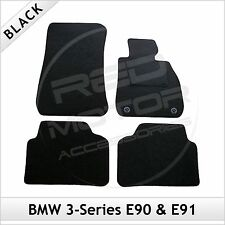 BMW 3-Series E90 E91 2005-2013 2-Clip Tailored Fitted Carpet Car Mats BLACK