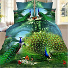 3D Peacock Animal Print Soft Duvet Quilt Cover Bedding Set Queen Size Pillowcase