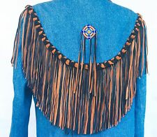 Vintage 80s Southwestern Native American Beaded and Leather fringe Denim Duster