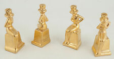 Gold Woman Top Hat Party Favor Card Invitation Holder Porcelain Japan (BY1)