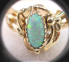 HANDCRAFTED HALLMARKED SOUTHWESTERN STYLE GILSON CREATED OPAL 14K GOLD RING