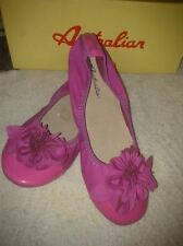 AUSTRALIAN CANDY PINK FLOWER GARTERIZED PATENT FLATS SHOES size 5 35