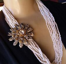 Vintage Trifari White Beaded Necklace & Signed Coro Huge Flower Brooch Lot