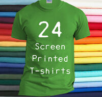 24 Custom Printed T-Shirts Your Art Logo or Design on Tee Shirt