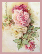 STuNninG WaTerCoLoR CaBbaGe RoSe PoSTcarD ShaBby WaTerSLiDe DeCALs