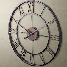 Classic LARGE Metal Wrought Iron WALL CLOCK Provincial Roman Numerals Bronze CA