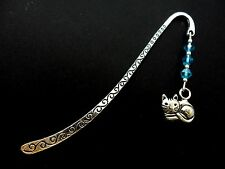 A TIBETAN SILVER  CAT CHARM & BLUE CRYSTAL BOOKMARK. NEW.
