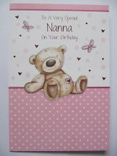 CUTE TEDDY BEAR & BUTTERFLY TO A VERY SPECIAL NANNA BIRTHDAY GREETING CARD