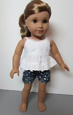 """Denim Star Shorts and White Lacy Top for American Girl & Other 18"""" dolls"""