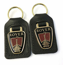 2 x Rover Dealership Key Rings Slate Grey Leather With Gold Plate & Enamel