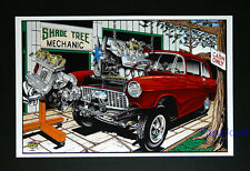 "1955 Chevrolet 55 Chevy ""Shade Tree Mechanic"" Garage 11"" by 17"" Art Print Poster"