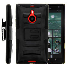 Nokia Lumia 1520 Case Rugged Hybrid Heavy Clip Holster Belt Cover Solid Black