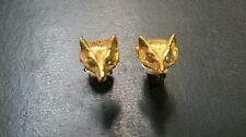 Adorable solid 14k gold Fox stud earrings with diamonds
