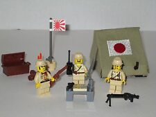 Lego Custom Japanese  Army Tent Playset w/ 3 Minifigs Modern Warfare