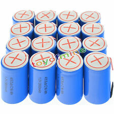 16 pcs 4/5 SubC Sub C 2800mAh 1.2V Ni-Mh Rechargeable Battery Blue Cell with Tab