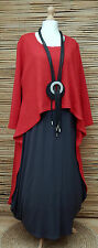 LAGENLOOK OVERSIZE FANTASTIC QUIRKY PENGUIN OVER-DRESS/TUNIC*RED*Size L-XL