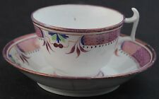 Antique English Pink Luster Lusterware Porcelain Handled Tea Cup & Saucer