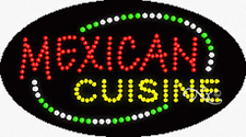"""BRAND NEW """"MEXICAN CUISINE"""" 27x15x1 OVAL ANIMATED & FLASHING LED SIGN 24545"""
