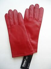 Ladies Genuine Leather Thinsulate Gloves,S, Red