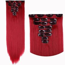100% Real Natural as human Hair 8Pcs Full Head Clip In Hair Extensions Synthetic