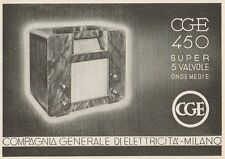 Z1257 Radio CGE 450 Super 5 valvole - Pubblicità d'epoca - 1936 Old advertising