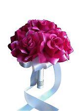 """8"""" Wedding Bouquet - USA Seller - Fuchsia Open Rose Bouquet"""
