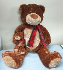"GUND Heads & Tales Brown and Tan 21"" Bear Scarf Vintage 86 Holding Baby Bear"
