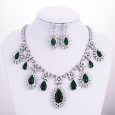 Pear Cut Green Emerald White Topaz Pendant Necklace Earrings Women's Jewelry Set