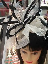 Wedding Party Carnival Races Feather Millinery Fascinator lady Hat Black+ Cream