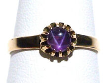 VICTORIAN ANTIQUE OLD PINK STAR SAPPHIRE 10K YELLOW GOLD ESTATE WOMENS RING S9.5