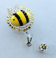 Retractable Reel Designer Bling ID Badge Holder handmade Yellow Bee Rhinestones