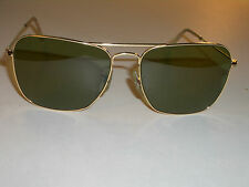 1960's 58MM VINTAGE B&L RAY BAN ARISTA RB3 TRU-GREEN CARAVAN AVIATORS SUNGLASSES